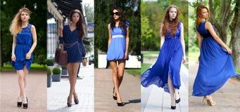 Collage van vijf mooie modellen in blauwe kleding stock fotografie