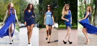 Collage van vijf mooie modellen in blauwe kleding stock afbeelding