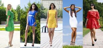 Collage van vijf mooie modellen in gekleurde de zomerkleding royalty-vrije stock afbeeldingen