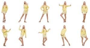 Collage van vrouw op wit wordt geïsoleerd dat Royalty-vrije Stock Fotografie
