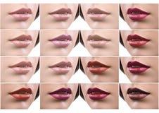 Collage van vrouwelijke die lippen in lippenstift worden behandeld stock foto