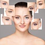 Collage van vrouwelijke gezichten in make-up royalty-vrije stock foto