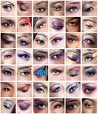 Collage van vrouwelijke ogenbeelden met creatieve make-up royalty-vrije stock afbeeldingen