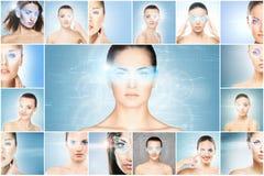 Collage van vrouwelijke portretten met hologrammen stock afbeeldingen