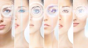 Collage van vrouwelijke portretten met hologrammen stock foto