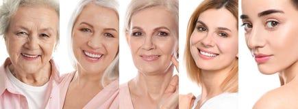 Collage van vrouwen met mooie gezichten stock afbeeldingen
