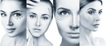 Collage van vrouwen` s gezichten met het opheffen van pijlen stock foto