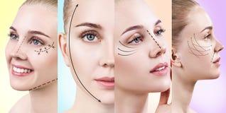 Collage van vrouwen` s gezichten met het opheffen van pijlen Royalty-vrije Stock Afbeelding