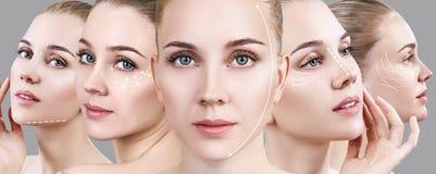 Collage van vrouwen` s gezichten met het opheffen van pijlen Stock Foto's
