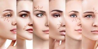 Collage van vrouwen` s gezichten met het opheffen van pijlen royalty-vrije stock foto