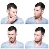 Collage van weerzinwekkende gezichtsuitdrukkingen royalty-vrije stock foto's