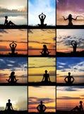 Collage van womes die op verschillende achtergronden mediteren Stock Afbeeldingen