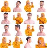 Collage van zestien geïsoleerde beelden: sluit omhoog portret van het glimlachen en het voor de gek houden rond animator in diver Royalty-vrije Stock Foto's