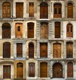 Collage van Zwitserse houten deuren Stock Foto
