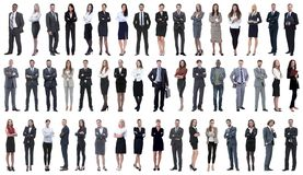 Collage of a variety of business people standing in a row stock image