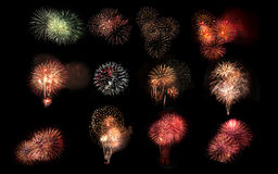 Collage of a variety of colorful fireworks isolated on black bac Stock Photo