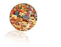 Collage variopinto dell'alimento fotografie stock