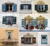 Collage variopinto fatto delle finestre Immagini Stock