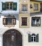 Collage variopinto fatto delle finestre Fotografia Stock