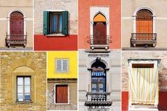 Collage variopinto fatto delle finestre da Burano Venezia, Italia Fotografie Stock