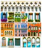 Collage variopinto fatto delle finestre da Venezia, Italia Fotografie Stock