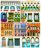 Collage variopinto fatto delle finestre da Venezia, Italia Fotografie Stock Libere da Diritti