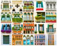 Collage variopinto fatto delle finestre da Venezia, Italia Fotografia Stock
