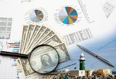 Collage of various business elements. Stock Images