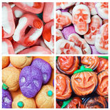 Collage of various candies and Swets halloween Royalty Free Stock Image