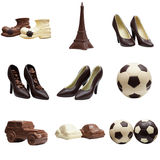 Collage of various chocolate figures. Studio photo Royalty Free Stock Images