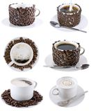 Collage of various coffee cups. Isolated Royalty Free Stock Image