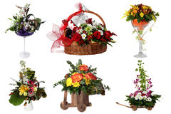 Collage of various colorful flower arrangements Stock Image