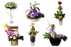 Collage of various colorful flower arrangements Royalty Free Stock Photo