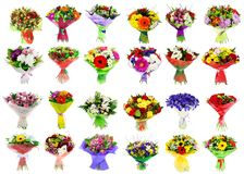 Collage of various colorful flower, set of bouquets. Isolated on white royalty free stock image