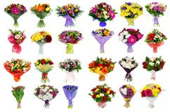 Collage of various colorful flower, set of bouquets isolated on. White stock photos