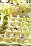Collage of various cupcakes: vanilla in decorative cup. S Stock Image