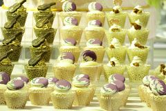 Collage of various cupcakes: vanilla in decorative cup. S Royalty Free Stock Photos