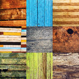 Collage of various different wood texture samples. Collage of nine different wood texture samples in square format Stock Photos