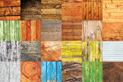 Collage of various different wood texture samples. Collage of twenty four different wood texture samples in square format Royalty Free Stock Photo