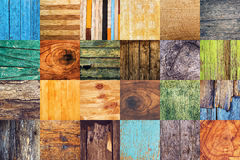 Collage of various different wood texture samples. Collage of twenty four different wood texture samples in square format Stock Photo