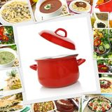 Collage with various dishes Stock Images