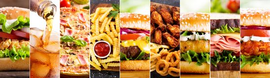Collage of various fast food products. And drinks royalty free stock photo