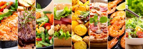 Collage of food products. Collage of various food products royalty free stock photos