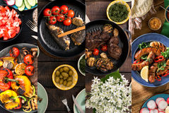 Collage of various foods cooked on the grill royalty free stock image