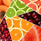 Collage from various fruit close up Stock Photography