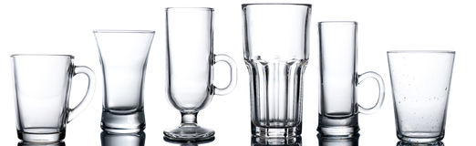 Collage of various glasses. Isolated on white royalty free stock photo
