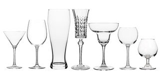 Collage of various glasses clear. On white stock photography