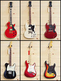 Collage of various guitars Stock Photo