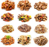 Collage of various meals with meat and chicken Royalty Free Stock Photo