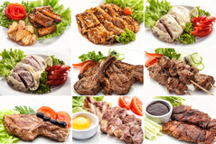 Collage of various meals with meat and chicken Royalty Free Stock Photos